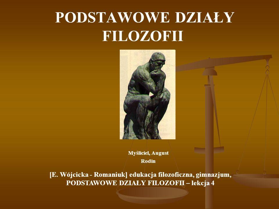 PODSTAWOWE DZIAŁY FILOZOFII A Podstawowe dyscypliny filozoficzne to: ontologia, epistemologia oraz aksjologia.