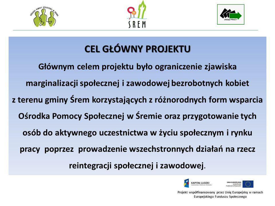 Projekt współfinansowany przez Unię Europejską w ramach Europejskiego Funduszu Społecznego CELE SZCZEGÓŁOWE PROJEKTU 1.