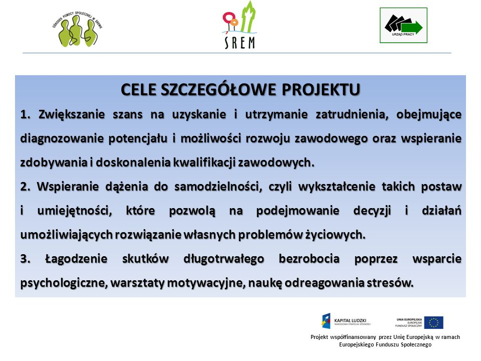 Projekt współfinansowany przez Unię Europejską w ramach Europejskiego Funduszu Społecznego CELE SZCZEGÓŁOWE PROJEKTU cd.