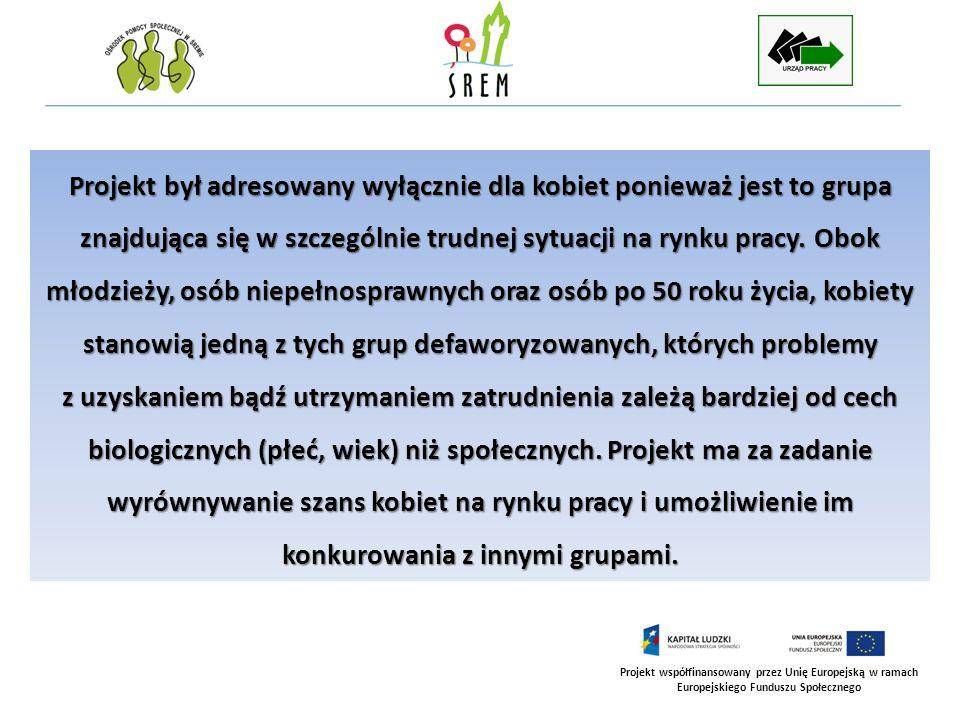 Projekt współfinansowany przez Unię Europejską w ramach Europejskiego Funduszu Społecznego PROGRAM ZAJĘĆ KLUBU INTEGRACJI SPOŁECZNEJ W RAMACH PROJEKTU AKTYWNOŚĆ SIĘ OPŁACA PROGRAM REINTEGRACJI ZAWODOWEJ I SPOŁECZNEJ REALIZOWANY BYŁ W DWÓCH GRUPACH PO 10 OSÓB KAŻDA W WYMIARZE 222 GODZIN DLA KAŻDEJ GRUPY W ramach realizowanego programu kobiety bezrobotne zakwalifikowane do udziału w projekcie uczestniczyły w warsztatach grupowych oraz korzystały z poradnictwa indywidualnego.