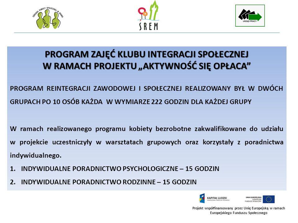 Projekt współfinansowany przez Unię Europejską w ramach Europejskiego Funduszu Społecznego WARSZTATY Z ZAKRESU DORADZTWA ZAWODOWEGO - WARSZTATY Z ZAKRESU DORADZTWA ZAWODOWEGO - 42 GODZINY Diagnoza i ocena predyspozycji zawodowych.
