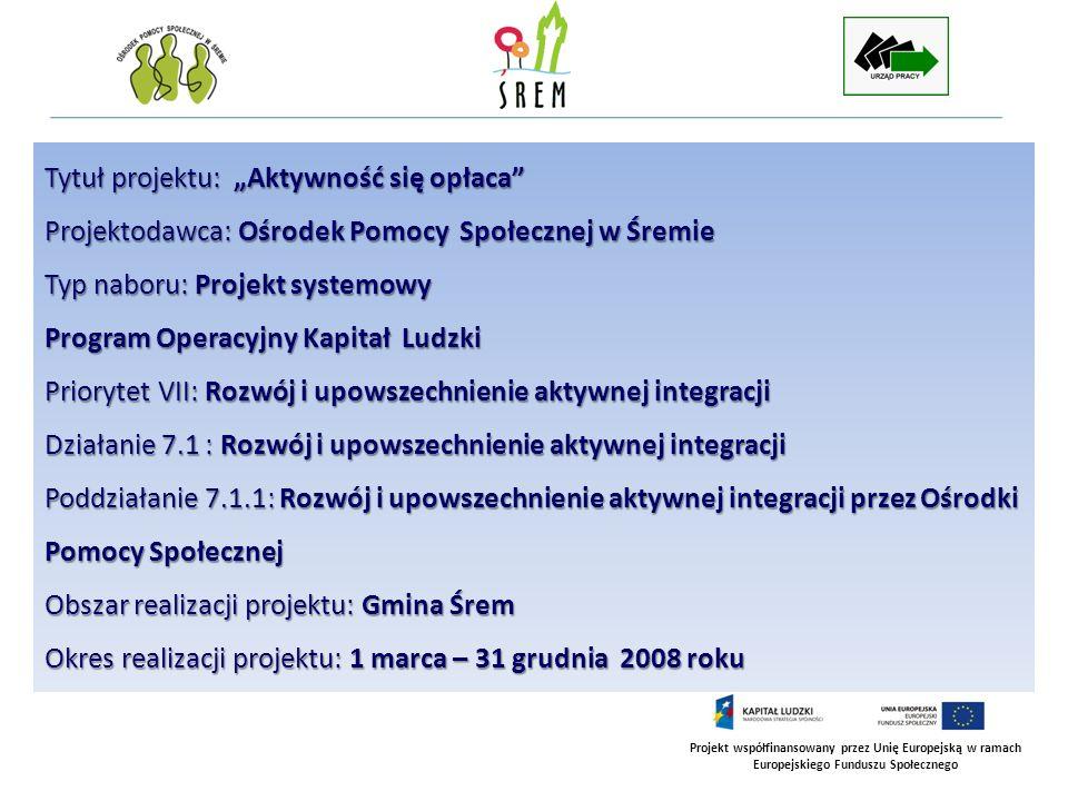 Projekt współfinansowany przez Unię Europejską w ramach Europejskiego Funduszu Społecznego F I N A N S O W A N I E P R O J E K T U Projekt Aktywność się opłaca jest współfinansowany przez Unię Europejska w ramach Europejskiego Funduszu Społecznego oraz Gminę Śrem Wartość projektu: 117.139,30 zł Środki Unii Europejskiej - 104.839,68 zł (89,5% wartości projektu) Środki Gminy Śrem - 12.299,62 zł (10,5% wartości projektu)