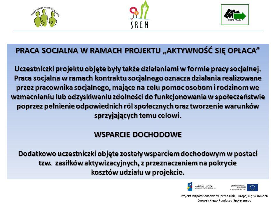 Projekt współfinansowany przez Unię Europejską w ramach Europejskiego Funduszu Społecznego REZULTATY PROJEKTU AKTYWNOŚĆ SIĘ OPŁACA Realizacja działań aktywizacyjnych przyczyniła się do osiągnięcia założonych rezultatów i celów projektu.
