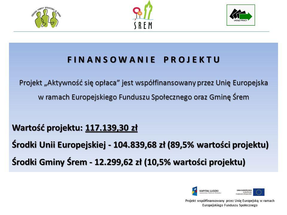 Projekt współfinansowany przez Unię Europejską w ramach Europejskiego Funduszu Społecznego Europejski Fundusz Społeczny (EFS) jest instrumentem Unii Europejskiej, powołanym do życia w 1957 roku i mającym na celu współfinansowanie działań krajów członkowskich w dziedzinie polityki zatrudnienia i rozwoju zasobów ludzkich.