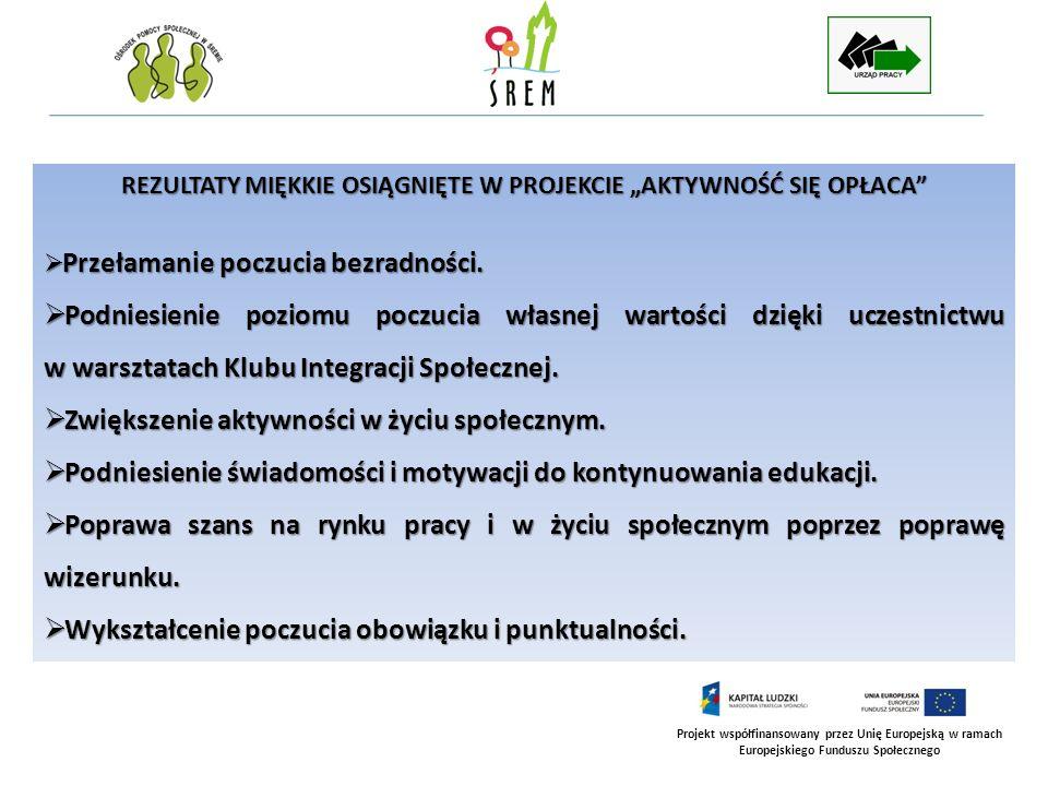 Projekt współfinansowany przez Unię Europejską w ramach Europejskiego Funduszu Społecznego REZULTATY MIĘKKIE OSIĄGNIĘTE W PROJEKCIE AKTYWNOŚĆ SIĘ OPŁACA cd.