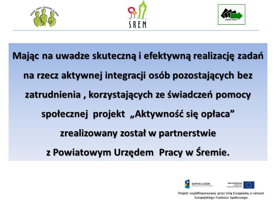 Projekt współfinansowany przez Unię Europejską w ramach Europejskiego Funduszu Społecznego Zakres wsparcia w realizacji projektu udzielanego przez partnera – Powiatowy Urząd Pracy w Śremie Powiatowy Urząd Pracy w Śremie Współpraca merytoryczna w ramach Zespołu Projektowego.