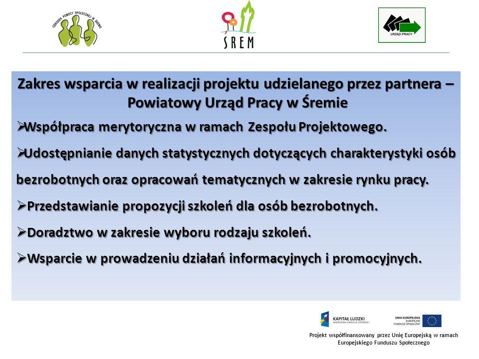 Projekt współfinansowany przez Unię Europejską w ramach Europejskiego Funduszu Społecznego Uzupełnienie kompetencji zawodowych uczestniczek projektu Aktywność się opłaca poprzez skierowanie na szkolenia dla osób bezrobotnych oraz finansowanie kosztów ww.