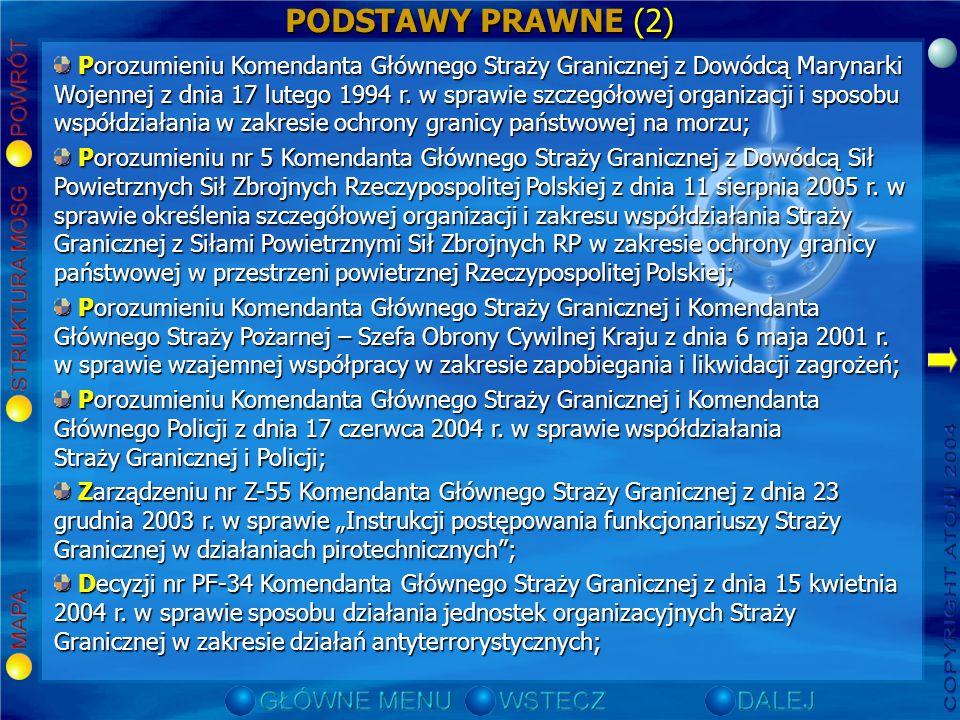 PODSTAWY PRAWNE (2) Porozumieniu Komendanta Głównego Straży Granicznej z Dowódcą Marynarki Wojennej z dnia 17 lutego 1994 r.