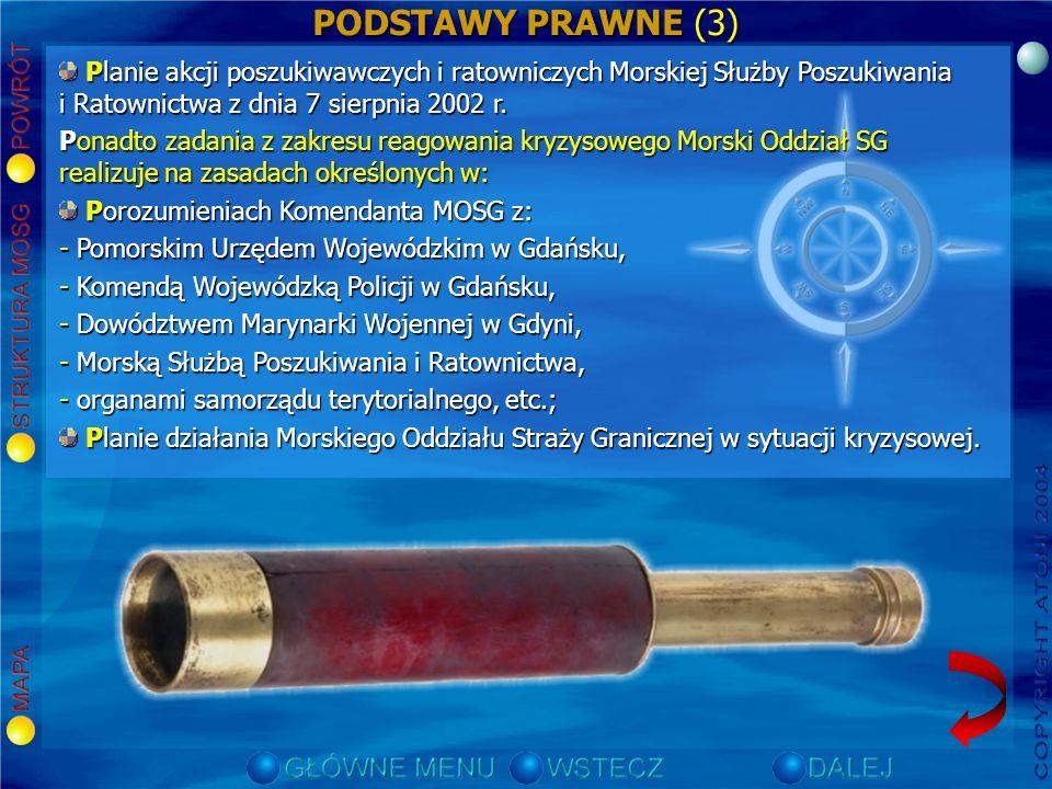 PODSTAWY PRAWNE (3) Planie akcji poszukiwawczych i ratowniczych Morskiej Służby Poszukiwania i Ratownictwa z dnia 7 sierpnia 2002 r.