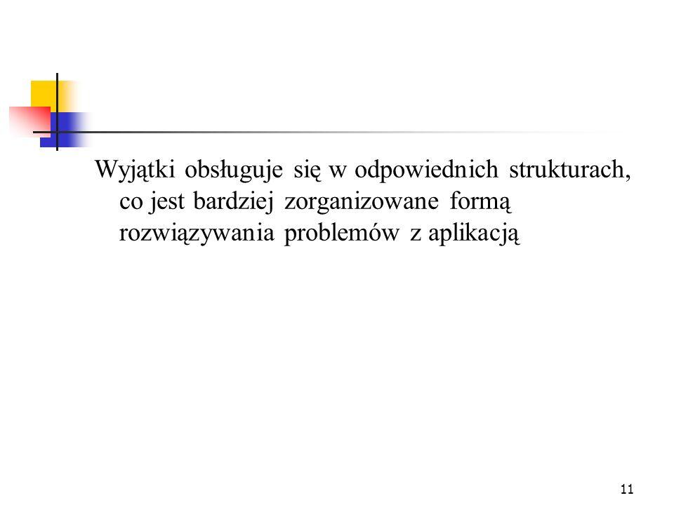 12 Kod on error Sub NazwaProcedury On Error GoTo MiejsceObslugiBledow Rozkazy procedur..................................