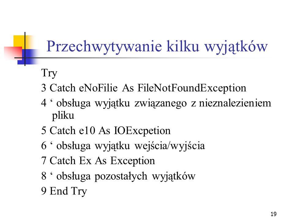 20 Powyższy blok Try...End Try jest przeznaczony do wychwytywania błędów, które mogą występować podczas przetwarzania plików.