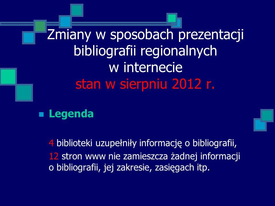 Zmiany w sposobach prezentacji bibliografii regionalnych w internecie stan w sierpniu 2012 r.