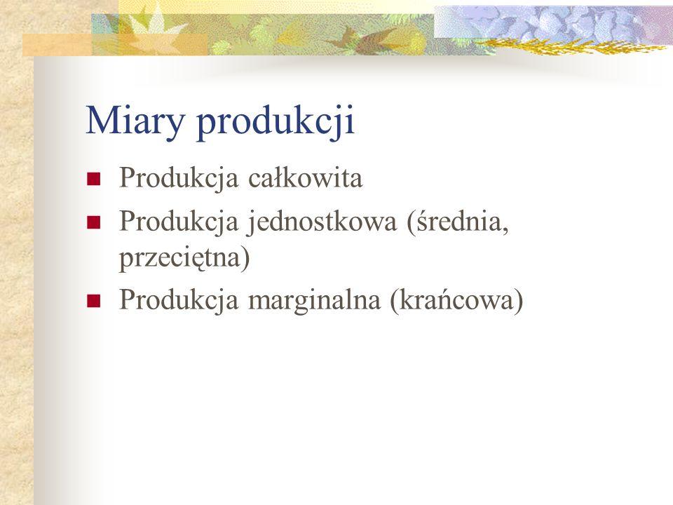 Miary produkcji Produkcja całkowita Produkcja jednostkowa (średnia, przeciętna) Produkcja marginalna (krańcowa)