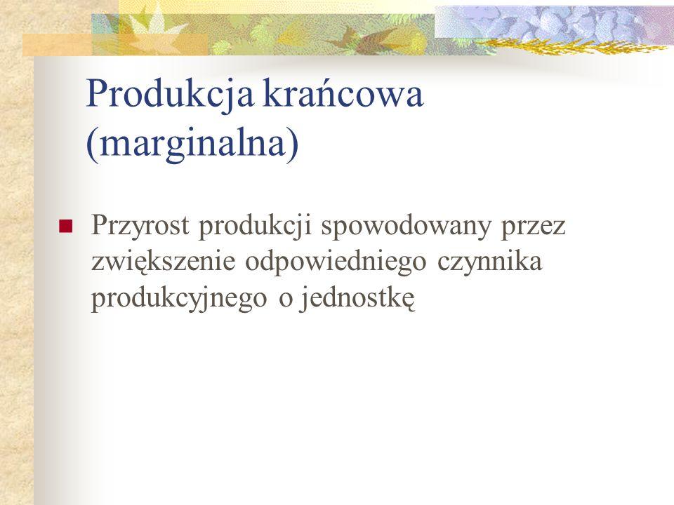 Produkcja krańcowa (marginalna) Przyrost produkcji spowodowany przez zwiększenie odpowiedniego czynnika produkcyjnego o jednostkę