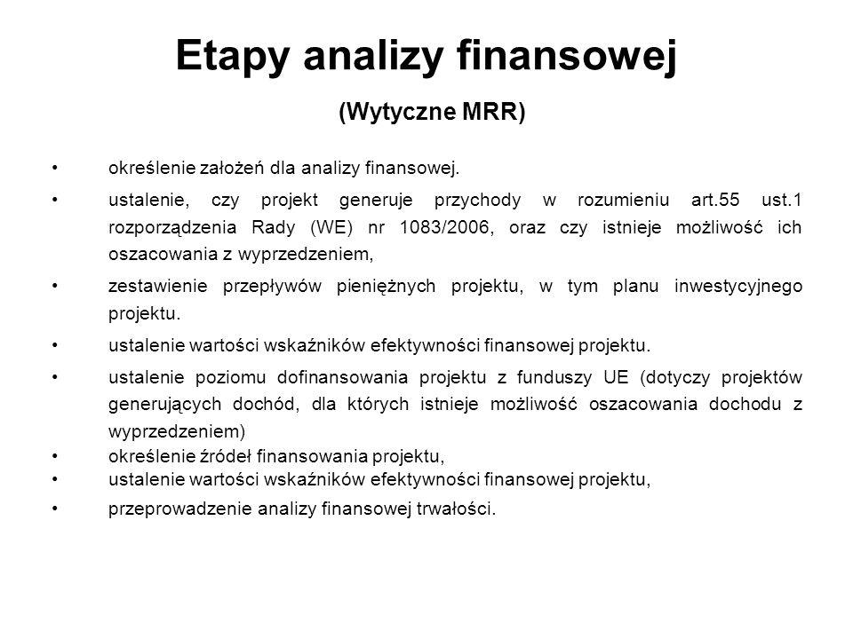 Ogólna metodyka przeprowadzania analizy finansowej Analizę finansową przeprowadza się w oparciu o metodologię zdyskontowanych przepływów środków pieniężnych.