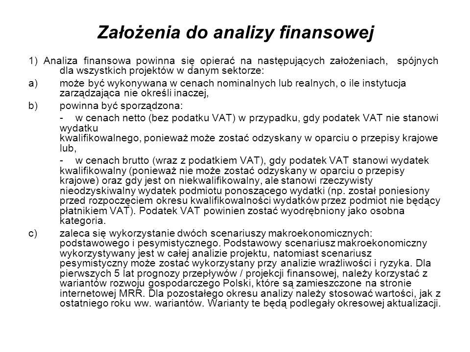Założenia do analizy finansowej Podczas sporządzania analizy finansowej należy wziąć pod uwagę te ww.