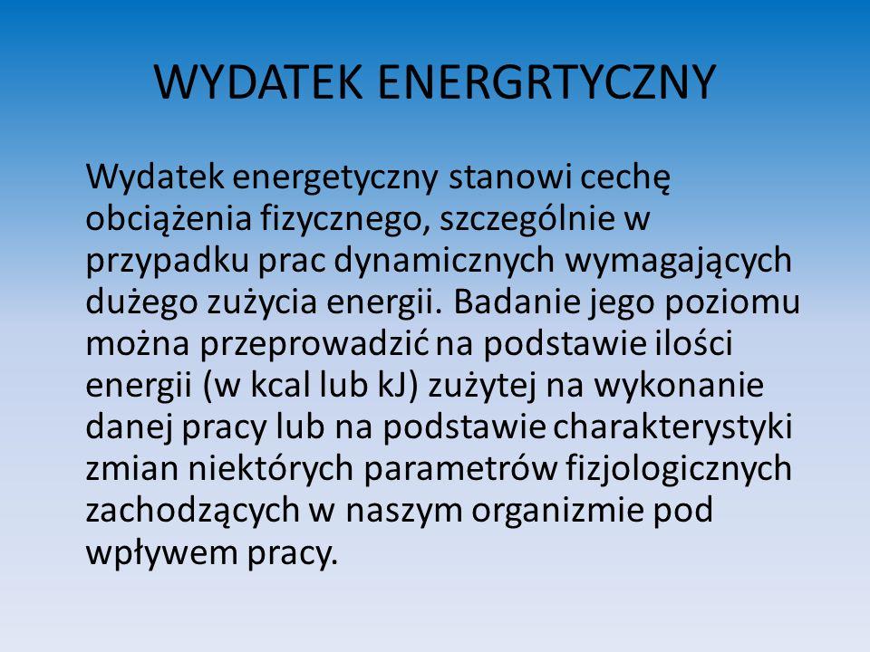 OCENA WYDATKU ENERGETYCZNEGO PRZY PRACY FIZYCZNEJ WYDATEK ENERGETYCZNY PODCZAS 8 GODZIN PRACY (W KCAL) OCENA NA ZMIANĘNA MINUTĘSŁOWNAPUNKTOWA < 300 300 - 800 800 - 1500 1500 - 2000 > 2000 < 2,5 2,5 – 5 5 – 7,5 7,5 – 10 > 10 BARDZO MAŁY MAŁY ŚREDNI DUŻY BARDZO DUŻY 0 1 – 25 25 – 50 50 – 75 75 - 100