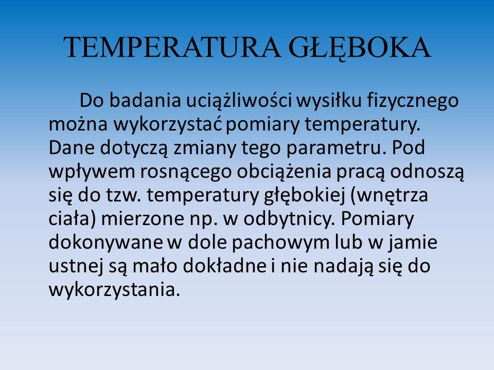 TEMPERATURA GŁĘBOKA Lehmann zaleca mierzenie temperatury oddanego moczu co jest wygodniejsze dla potrzeb oceny uciążliwości pracy niż stosowanie innych sposobów.