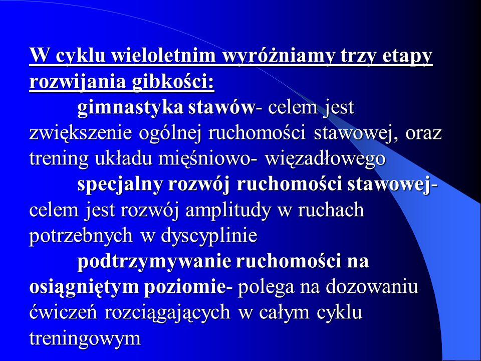 Metody kształtowania gibkości Metoda balistyczna- Polega na wykonywaniu luźnych wymachów i krążeń.