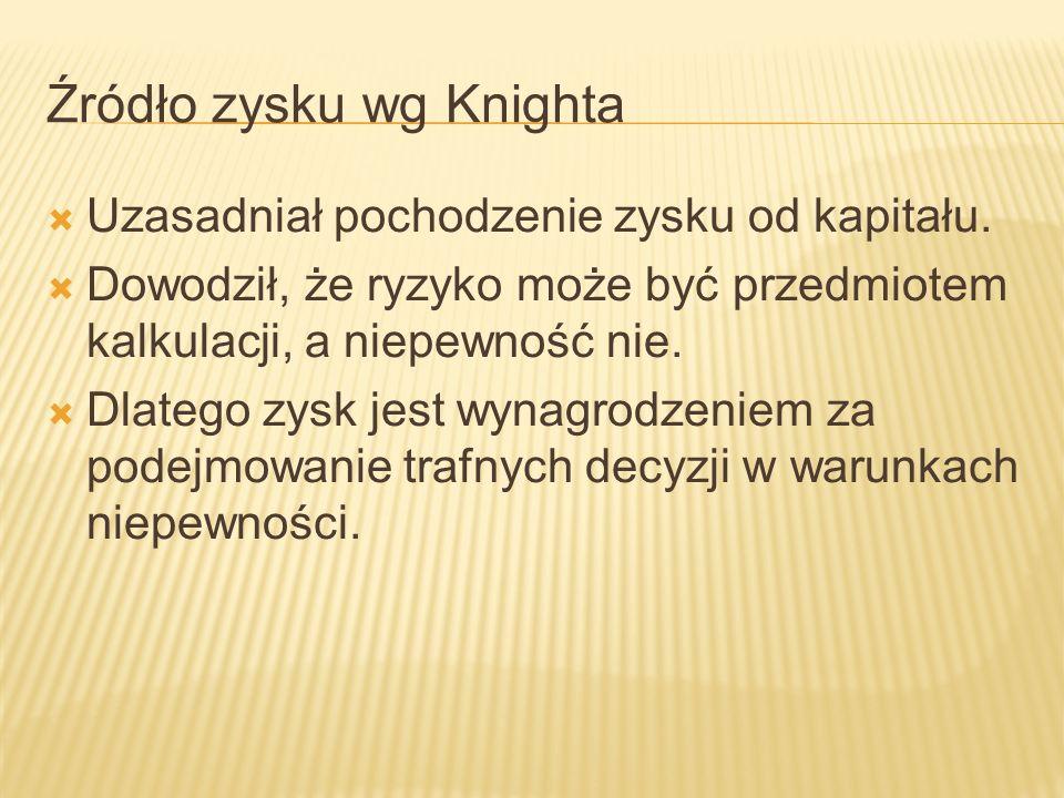 Źródło zysku wg Knighta Uzasadniał pochodzenie zysku od kapitału.