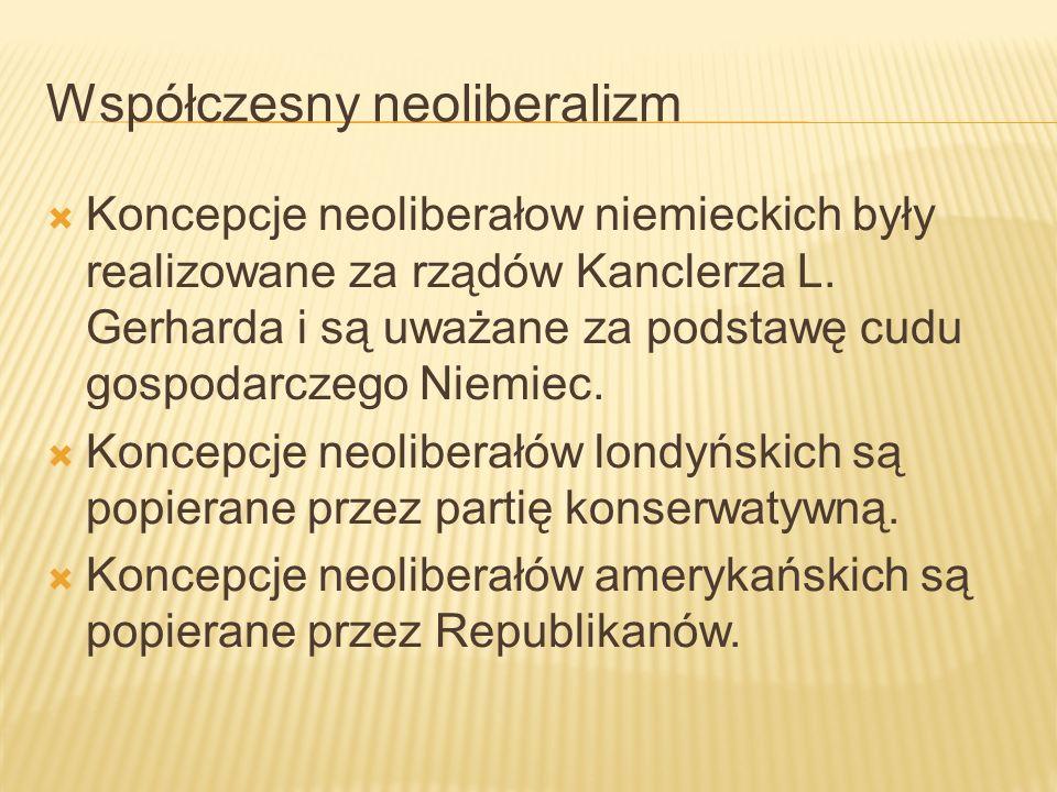 Współczesny neoliberalizm Koncepcje neoliberałow niemieckich były realizowane za rządów Kanclerza L.