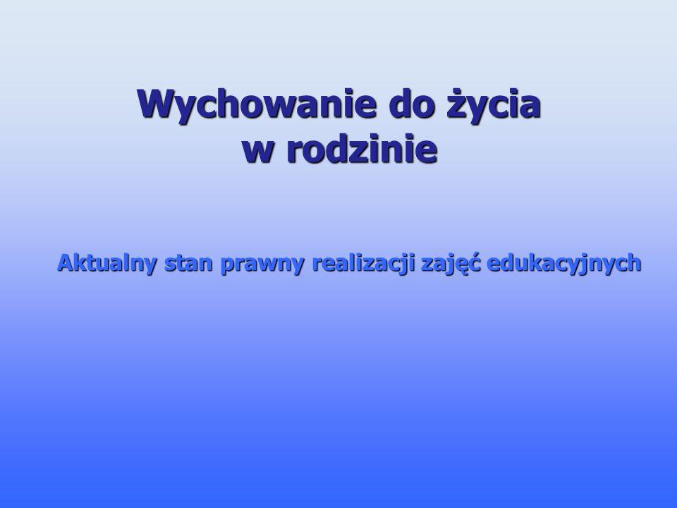 Konstytucja Rzeczypospolitej Polskiej Rodzice mają prawo do wychowania dzieci zgodnie z własnymi przekonaniami.