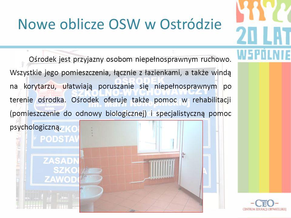 Rozwój OSW dzięki wsparciu starostwa Warunki nauki zmieniły się diametralnie: w starej szkole użytkowano 16 sal, w obecnej – 22 + 6 sal specjalistycznych, ilość dzieci ze 180 wzrosła do 220, zmieniła się spadkowa tendencja wśród dzieci szkoły podstawowej (w tym roku przybyło 16 dzieci), rodzice chętniej oddają dzieci do nowoczesnego ośrodka.