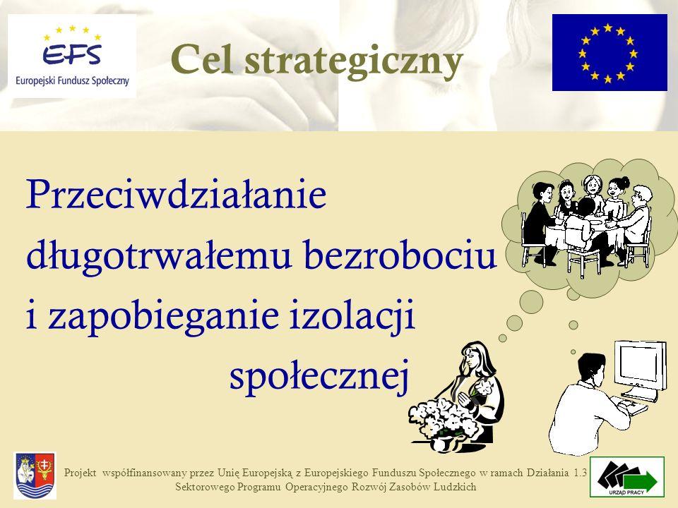 Projekt współfinansowany przez Unię Europejską z Europejskiego Funduszu Społecznego w ramach Działania 1.3 Sektorowego Programu Operacyjnego Rozwój Zasobów Ludzkich Zwi ę kszenie umiej ę tno ś ci osób bezrobotnych w zakresie samodzielnego rozwi ą zywania problemu braku pracy, Dostosowanie kwalifikacji osób bezrobotnych do potrzeb rynku pracy, Aktywizacja zawodowa osób bezrobotnych poprzez przywrócenie kontaktu z prac ą, Zwi ę kszenie zainteresowania prowadzeniem w ł asnej dzia ł alno ś ci gospodarczej.