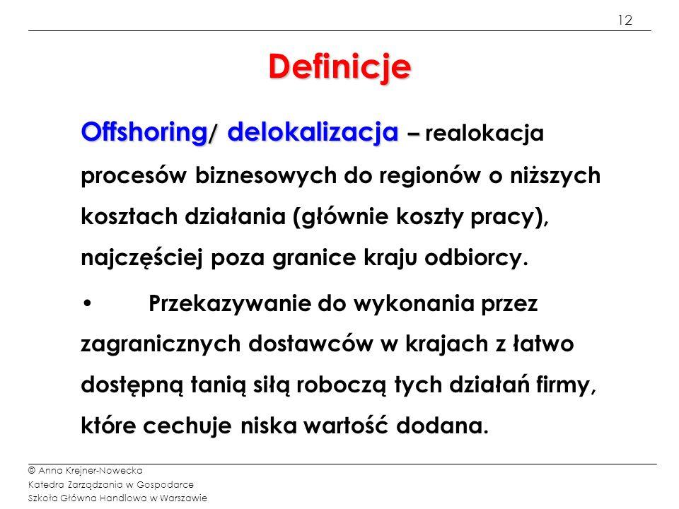 13 © Anna Krejner-Nowecka Katedra Zarządzania w Gospodarce Szkoła Główna Handlowa w Warszawie Definicje Nearshoring – gdy Nearshoring – gdy realokacja procesów biznesowych następuje w pobliżu kraju pochodzenia; np.