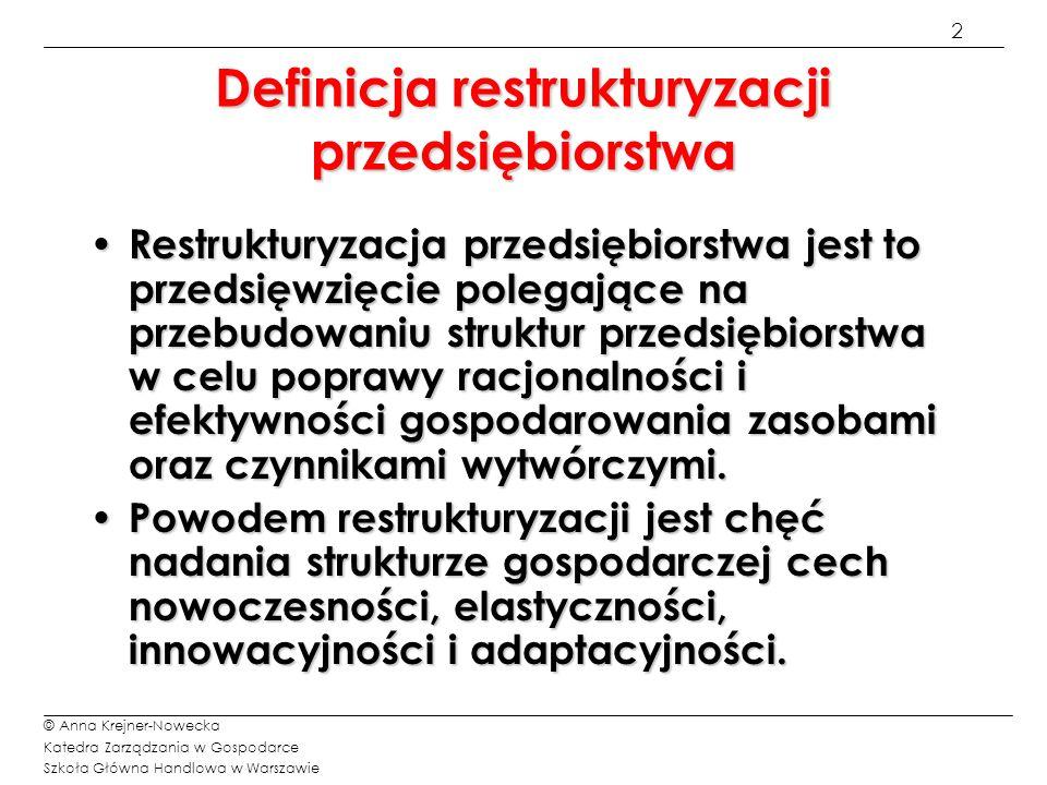 3 © Anna Krejner-Nowecka Katedra Zarządzania w Gospodarce Szkoła Główna Handlowa w Warszawie Przyczyny pogarszania się kondycji przedsiębiorstw 1/2 Wewnętrzne nieumiejętne zarządzanie nieumiejętne zarządzanie nieodpowiednia kontrola finansowa nieodpowiednia kontrola finansowa słabe zarządzanie kapitałem obrotowym słabe zarządzanie kapitałem obrotowym Zewnętrzne spadek lub zmiany w popycie rynkowym wzrost konkurencji niekorzystne zmiany w cenach towarów polityka rządowa