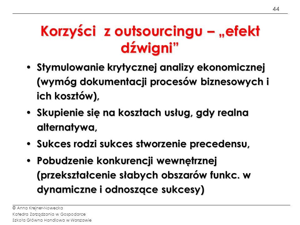 45 © Anna Krejner-Nowecka Katedra Zarządzania w Gospodarce Szkoła Główna Handlowa w Warszawie Jak mierzy się korzyści.