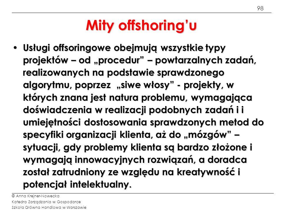 99 © Anna Krejner-Nowecka Katedra Zarządzania w Gospodarce Szkoła Główna Handlowa w Warszawie Taktyka offshoringu (1/3) 1) 1)Proces offshoringu trwa 2-3 lata.