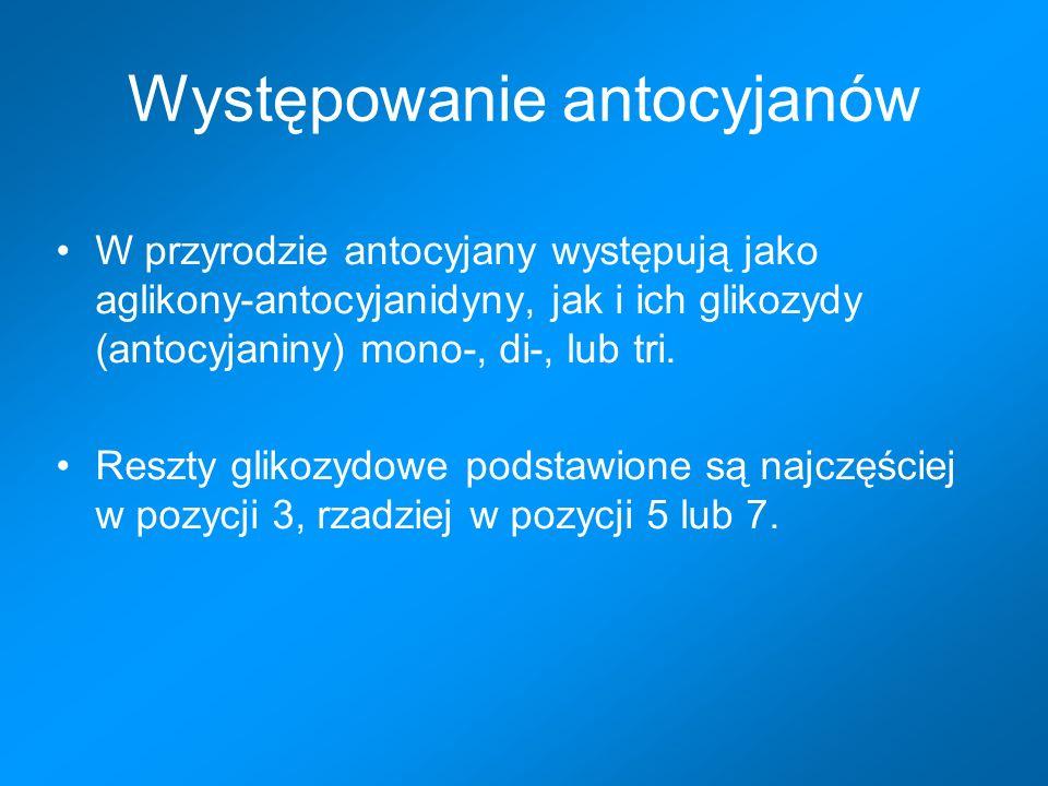 Najczęściej spotykane aglikony-antocyjanidyny i ich podstawniki