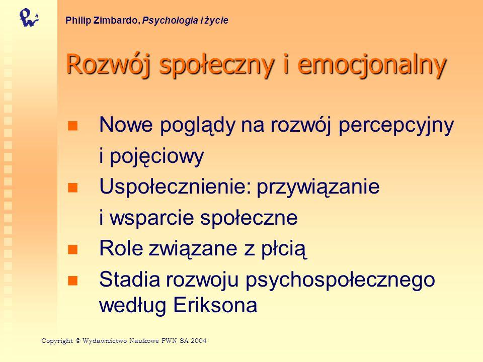 Stadia rozwoju psychospołecznego według Eriksona 1 Philip Zimbardo, Psychologia i życie WiekKryzysWłaściwe rozwiązanie Niewłaściwe rozwiązanie 0–1,5Ufność vs nieufność Podstawowe poczucie bezpieczeństwa Niepewność, lęk 1,5–3Autonomia vs zwątpienie w siebie Postrzeganie siebie jako podmiotu zdolnego do kontrolowania własnego ciała i sprawcę działania Poczucie niezdolności kontroli przebiegu zdarzeń Copyright © Wydawnictwo Naukowe PWN SA 2004