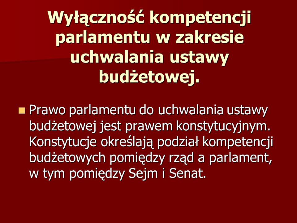Ogólne zasady podziału kompetencji w zakresie uchwalania budżetu.