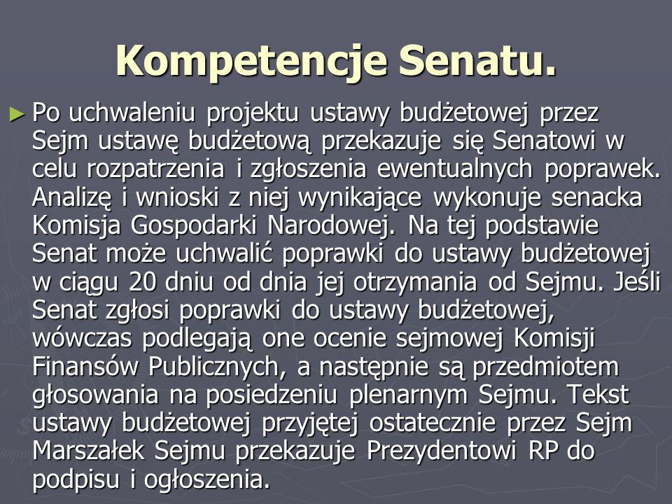 Kompetencje prezydenta Prezydent RP ma 7 dni na podpisanie ustawy budżetowej i skierowanie jej do ogłoszenia.