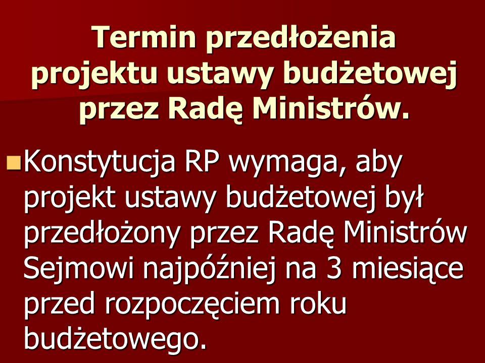 Konsekwencje nieprzedłożenia przez Radę Ministrów w terminie ustawy budżetowej.