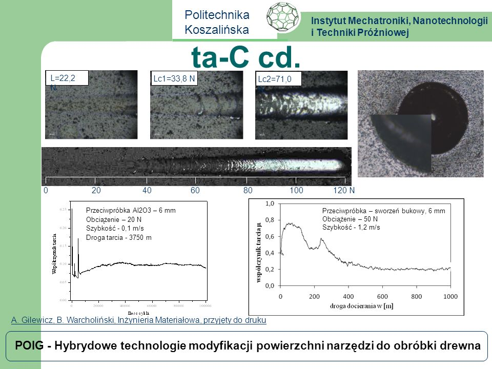 Instytut Mechatroniki, Nanotechnologii i Techniki Próżniowej Politechnika Koszalińska POIG - Hybrydowe technologie modyfikacji powierzchni narzędzi do obróbki drewna TiAlCrN B.