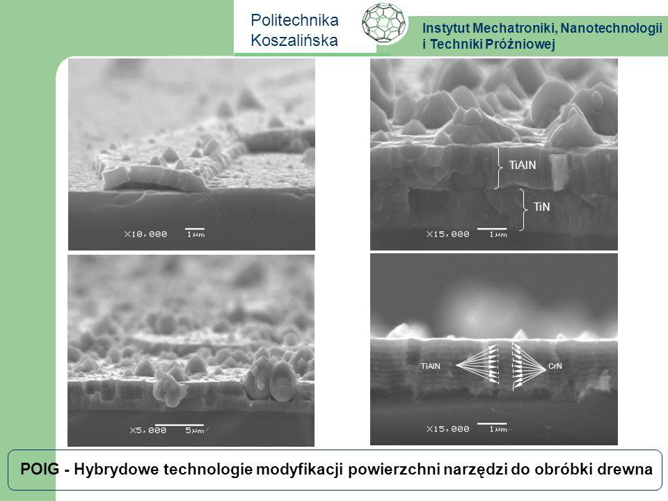 Instytut Mechatroniki, Nanotechnologii i Techniki Próżniowej Politechnika Koszalińska POIG - Hybrydowe technologie modyfikacji powierzchni narzędzi do obróbki drewna TiAlN TiN
