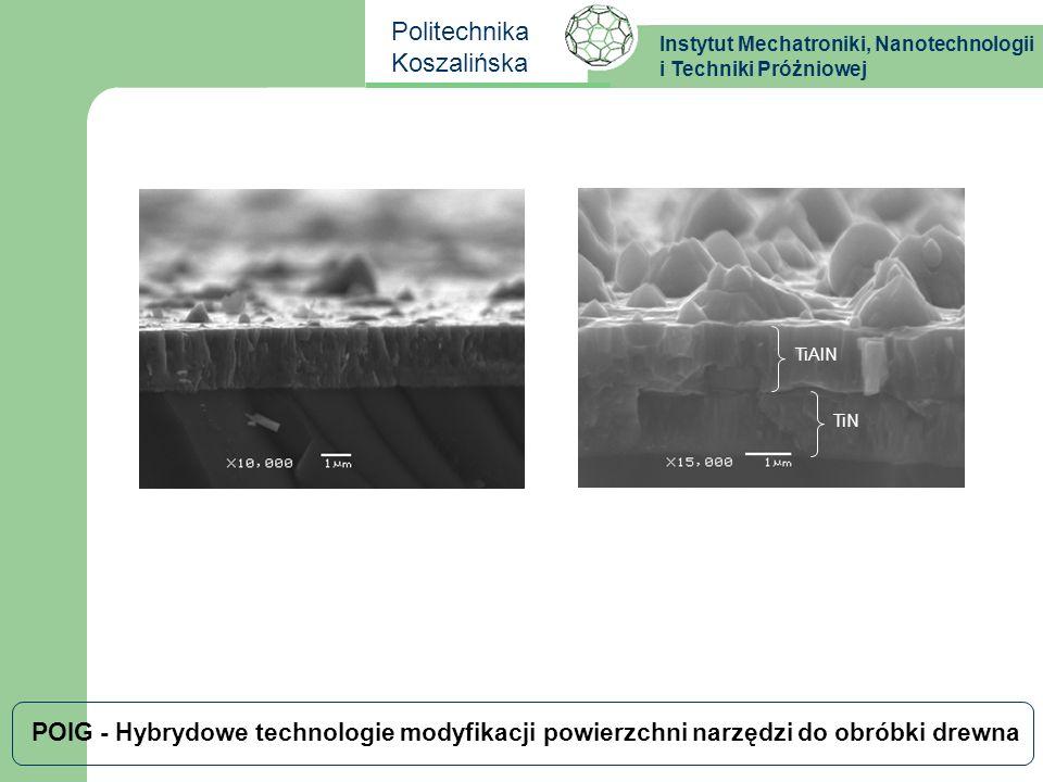 Instytut Mechatroniki, Nanotechnologii i Techniki Próżniowej Politechnika Koszalińska POIG - Hybrydowe technologie modyfikacji powierzchni narzędzi do obróbki drewna chropowatość a zużycie