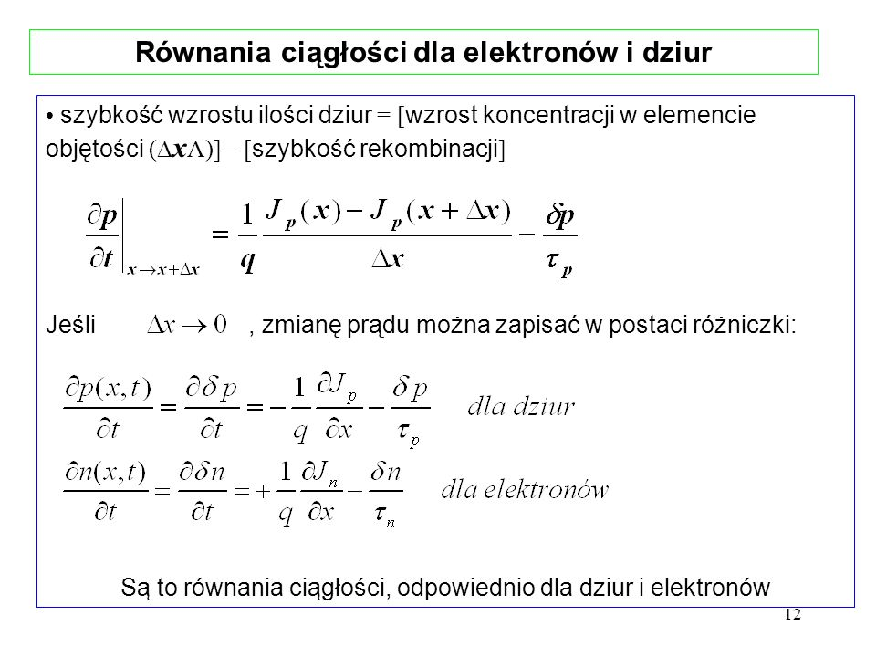 13 Równania ciągłości dla elektronów i dziur Jeśli założyć, że nie ma prądu unoszenia : Są to równania opisujące proces dyfuzji, któremu towarzyszy proces rekombinacji.