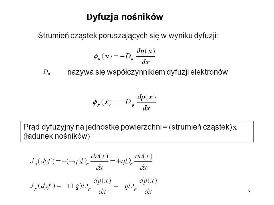 4 Jeśli dodatkowo istnieje pole elektryczne : Całkowita gęstość prądu : J(x) = J n (x) + J p (x)