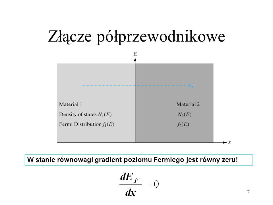 8 Dla energii E, szybkość przejścia ele k tron ów ze stanu 1 do stanu 2 jest ~ do liczby stanów zajętych o energii E w material e 1 razy liczba stanów pustych o energii E w material e 2 : - Szybkość przejścia z 1 d o 2 : - Szybkość przejścia z 2 do 1 : - w stanie równowagi : - a stąd : - więc : - zatem : A więc w stanie równowagi gradient poziomu Fermiego jest równy zeru !