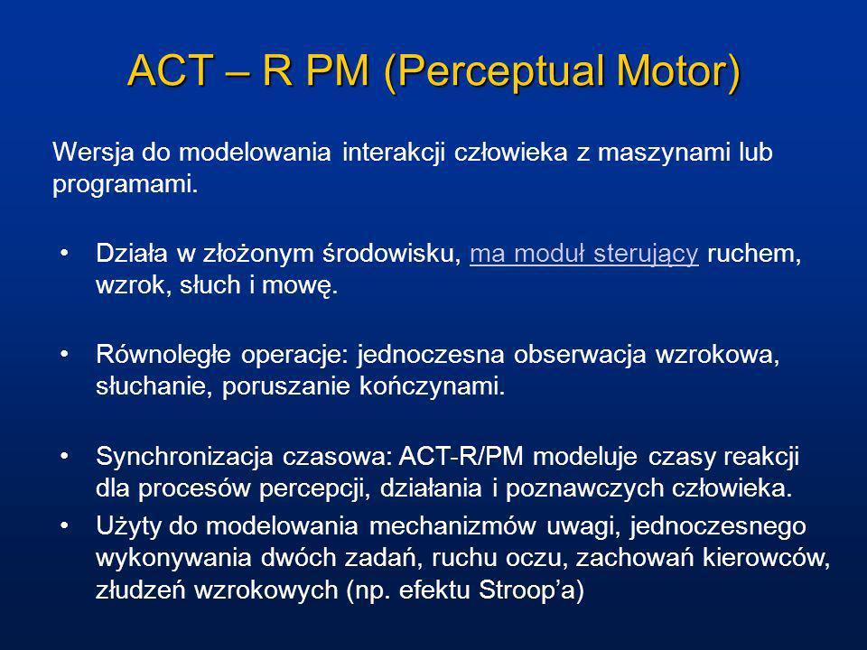Act-R-PM - architektura Wersja PM integruje percepcję (P) i działania motoryczne (M).