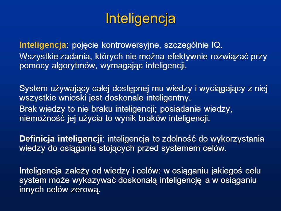 Przestrzenie problemów Podstawą inteligentnego zachowania są procesy poszukiwania rozwiązań (dotyczy to wyższych czynności poznawczych).