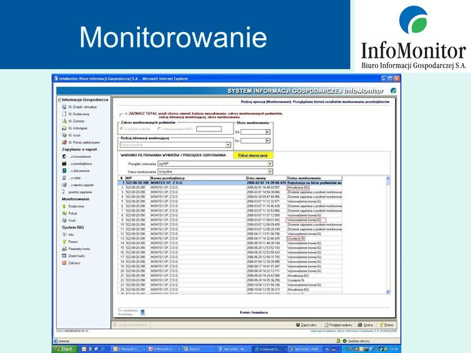 Ilość raportów udostępnionych przez InfoMonitor