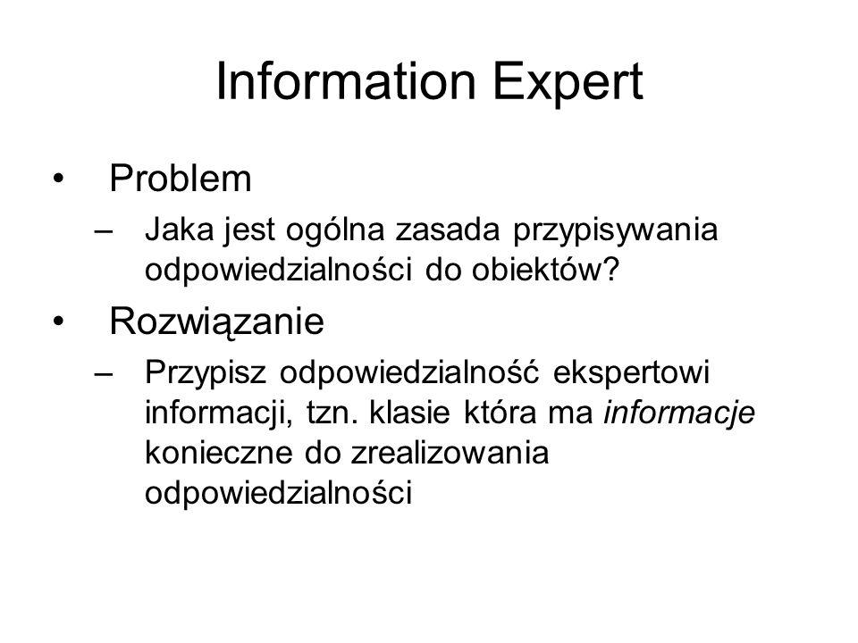Information Expert Pytanie –Czy szukamy klas, które mają potrzebne informacje, w modelu dziedziny czy w modelu projektu.