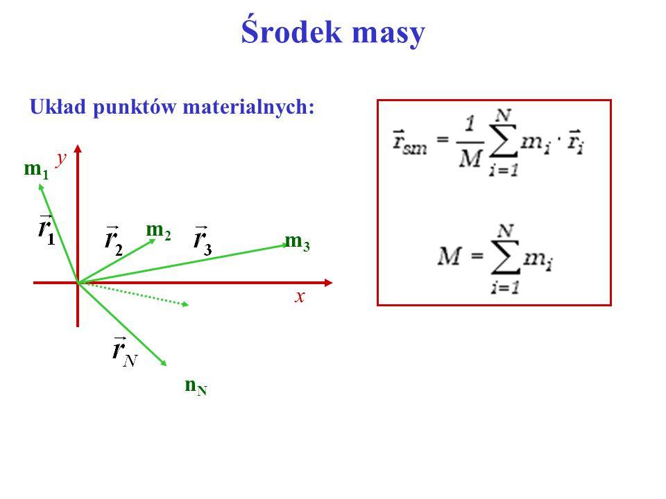 Środek masy Przykład: 5 0 x 10 m 1 = 2 kgm 2 = 2 kg