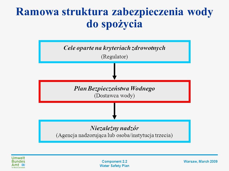 Component 2.2 Water Safety Plan Warsaw, March 2009 Uzasadnienie PBW Ograniczone możliwości badania produktu końcowego: Ograniczona możliwość wykorzystania badań mikrobiologicznych jako systemu wczesnego ostrzegania Badane ilości wody rzadko są statystycznie reprezentatywne Ograniczona możliwość wykrywania krótkoterminowych wahań jakości wody Procedury zarządzania jakością służące utrzymaniu procesów pod kontrolą mają następujące zalety: Kładą nacisk na prewencję Koncentrują się na kontrolowaniu procesu Zaprojektowano je tak, aby zmniejszały, eliminowały i zapobiegały zanieczyszczeniu