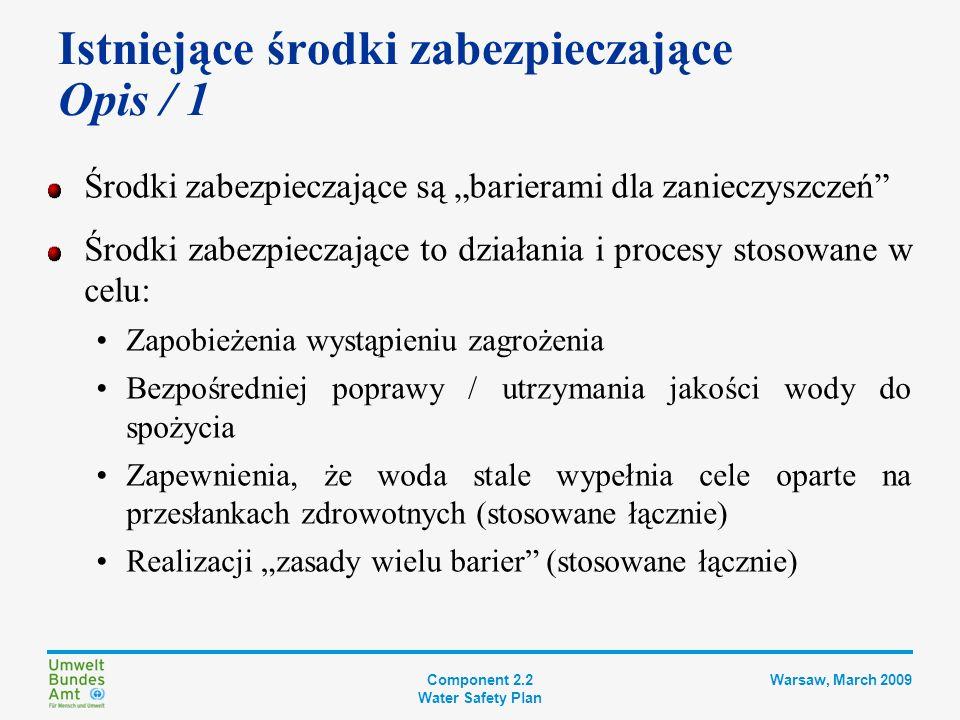 Component 2.2 Water Safety Plan Warsaw, March 2009 Do środków zabezpieczających zaliczyć można: Zapobieganie przedostawaniu się zanieczyszczeń (zagrożeń) do wody Usuwanie zagrożeń z wody Dezaktywację patogenów w wodzie Utrzymanie jakości wody podczas dystrybucji Różny charakter środków zabezpieczających: Obszar ujęcia: szeroki zakres działań planistycznych, których celem jest ochrona jakości wody surowej (charakter prewencyjny) Uzdatnianie, przechowywanie i dystrybucja: projekt, budowa, działanie i konserwacja (charakter techniczny) Istniejące środki zabezpieczające Opis / 2